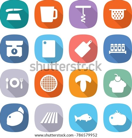 flat vector icon set - cutting board vector, cup, corkscrew, colander, kitchen scales, spices, fork spoon plate, sieve, mushroom, cupcake, lemon, field, fish, tomato