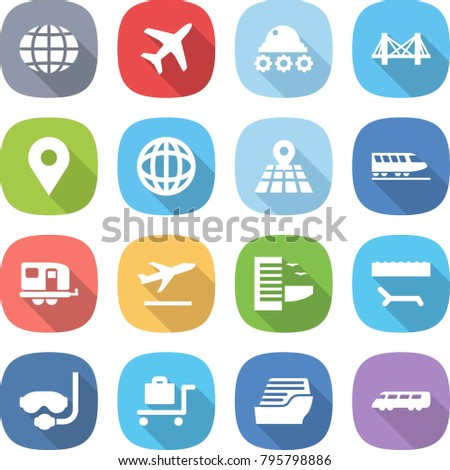 flat vector icon set - globe vector, plane, lunar rover, bridge, geo pin, map, train, trailer, departure, hotel, lounger, diving mask, baggage trolley, cruise ship, speed