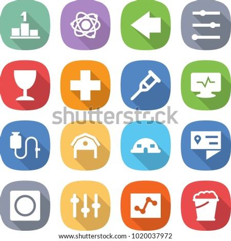 flat vector icon set - pedestal vector, atom, left arrow, equalizer, wineglass, medical cross, crutch, monitor pulse, dropper, barn, dome house, location details, ring button, setup, analytics