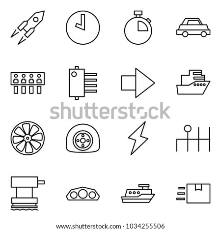 Flat vector icon set - rocket vector, clock, stopwatch, car, hub, forward, cruiser, wheel disk, flat tyre, lightning, gearbox, grinder, dashboard, fast deliver