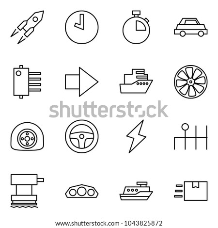 Flat vector icon set - rocket vector, clock, stopwatch, car, hub, forward, cruiser, wheel disk, flat tyre, steering, lightning, gearbox, grinder, dashboard, fast deliver