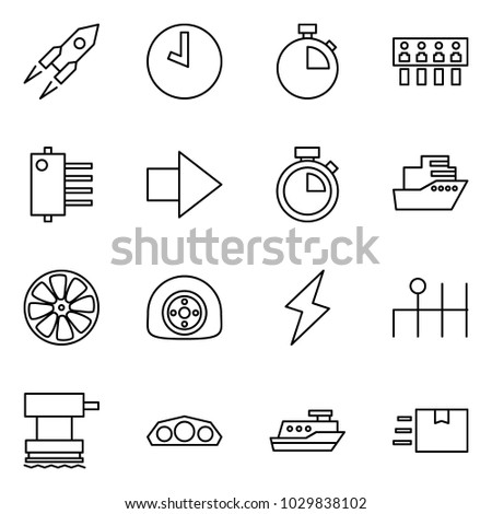 Flat vector icon set - rocket vector, clock, stopwatch, hub, forward, cruiser, wheel disk, flat tyre, lightning, gearbox, grinder, dashboard, fast deliver