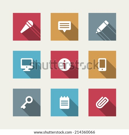 Flat vector icons concept. Design elements for business, social media,web site and mobile phone templates. design.  - stock vector