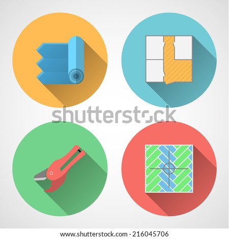 Flat vector icons for linoleum flooring service. Set of colored circle flat vector icons with symbols for linoleum flooring service on gray background. - stock vector