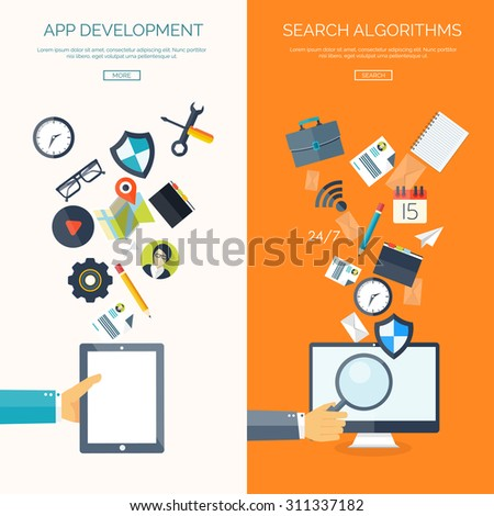 Flat vector illustration. App development. Search algorithms. SEO. Search engine optimization. Hand with tablet and loupe.  - stock vector