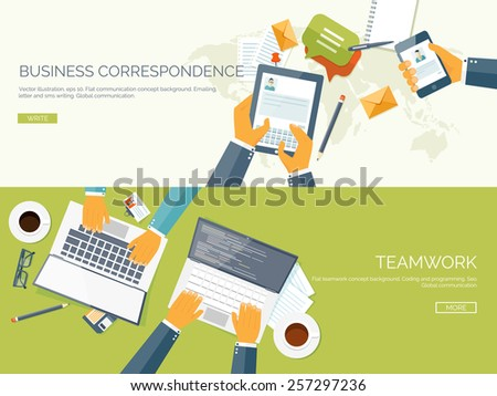 Flat vector illustration backgrounds set. Business correspondence and communication. Teamwork. Smart solutions. - stock vector