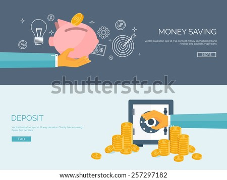 Flat vector illustration backgrounds set. Piggy bank and deposit. Money  saving and money making. Web payments. World currency. Internet store, shopping. Pay per click. Business. - stock vector