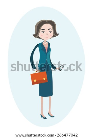 Flat vector illustration business woman with phone and case in her hands - stock vector