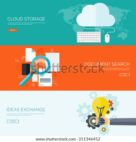 Flat vector illustration. Cloud storage,media server. Document web search. Ideas exchange,smart solutions. - stock vector