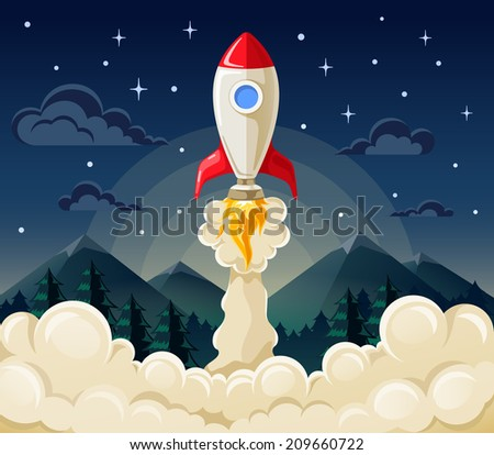 Flat vector illustration concept of space rocket ship startup on dark background of mountains and starry sky. - stock vector