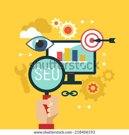 Flat vector illustration concept seo. System engine optimization.  - stock vector