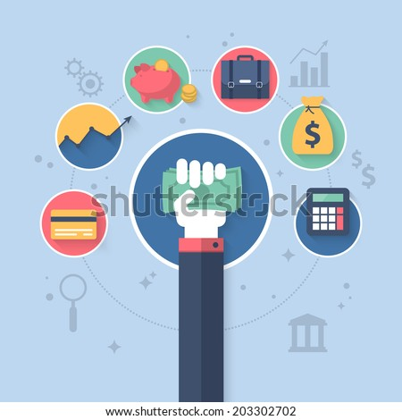 Flat vector illustration for online banking and control finance application - stock vector