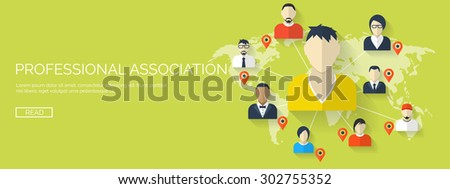 Flat vector illustration. Friends list, hand with smartphone and map. Social network. Global communication. Chatting and emailing.Professional association.  - stock vector