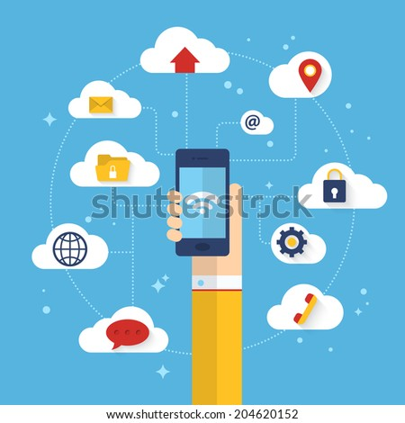 Flat vector illustration infographics of connected mobile phone with cloud computing service