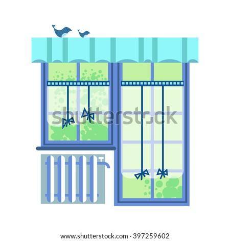 Flat vector illustration interior element window. Interior design window white background. High quality detailed interior design. - stock vector