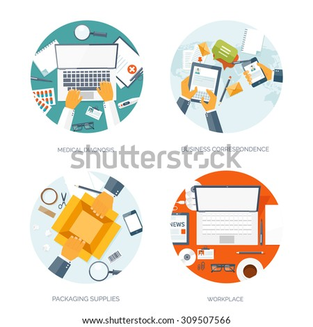 Flat vector illustration. Medical diagnosis. Business correspondence. Packaging supplies. Workplace. - stock vector