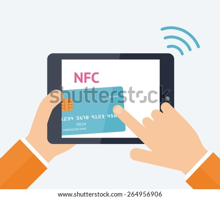 Flat vector illustration. Mobile payment processing concept. Hand holding modern laptop with credit card on the screen and NFC radio wave outside. Near field communication technology.