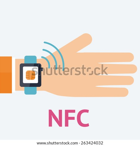 Flat vector illustration. Mobile payment processing concept. Hand holding modern smartwatch with chip of credit card on the screen and NFC radio wave outside. Near field communication technology. - stock vector