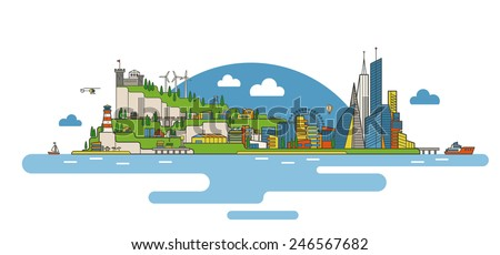Flat vector illustration of a city on an island. Big modern city with skyscrapers and small cottages. Industrial part with farms and docks. Old castle on a cliff. EPS10 vector image.  - stock vector
