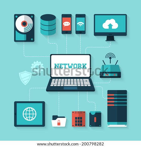 Flat vector illustration of computer network concept - stock vector