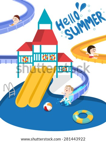 Flat vector illustration of kids going down the slide in the swimming pool with playground  during summer vacation. Suitable for summer and seasonal design. Lettering Hello Summer.  - stock vector