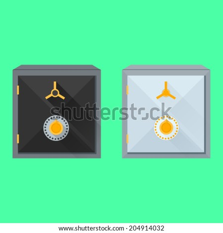 Flat vector illustration of safes. Two gray and black safes on green background. - stock vector