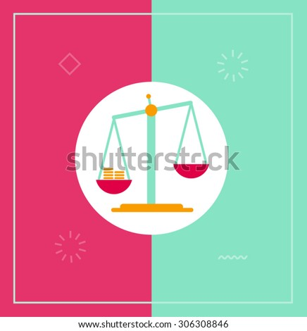 Flat vector illustration of scales tipped - stock vector