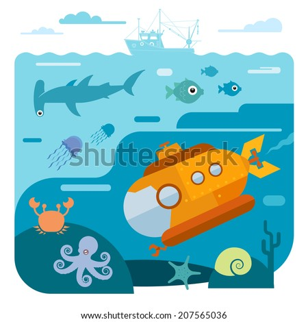 Flat vector illustration of underwater sea life. Illustration of submarine diving and exploring sea animals - shark, octopus, crab, starfish.  - stock vector