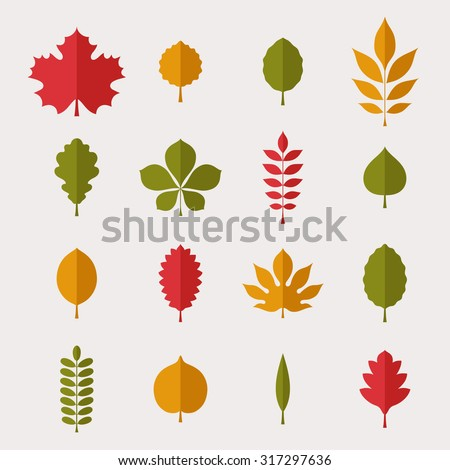 Flat vector illustration: silhouettes of different tree leaves (beech, ash, linden, birch, alder, aspen, willow, walnut, apple, oak, acacia, chestnut, conker etc.) isolated on light gray background - stock vector