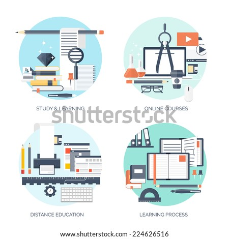 Flat vector illustration. Study and learning concept backgrounds set. Distance education, brainstorm and knowledge growth,school and university subjects.Success and smart ideas, skills up.  - stock vector