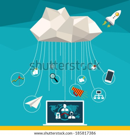 Flat vector illustration web concept of cloud computer and connected mobile devices with links of cloud computing service on stylish background. - stock vector