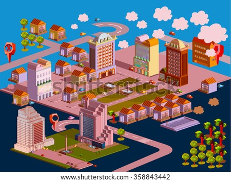 Flat vector landscape with a road junction GPS navigation infographic 3d isometric concept. - stock vector