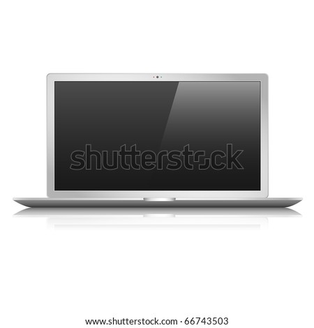 Flat vector laptop. Eps 10 - stock vector