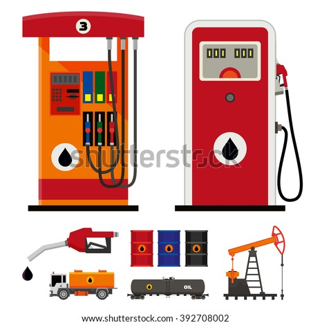 Flat vector modern and classic gas pumps - stock vector
