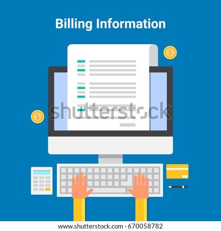 flat vector billing information online billing stock vector royalty