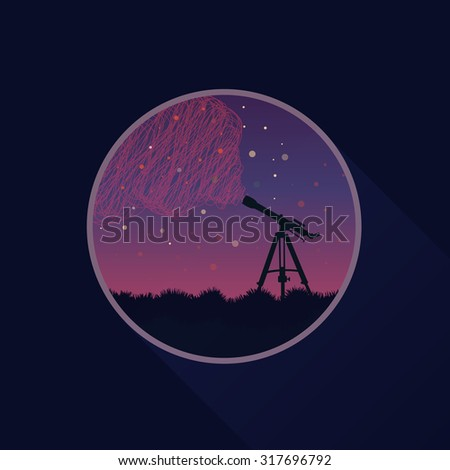 Flat vector round icon: telescope, space, stars - stock vector