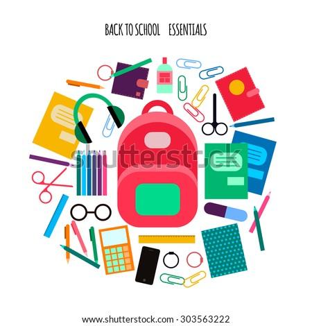 flat vector school essentials, supplies icons set - stock vector