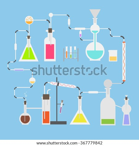 Flat vector science illustration. Colorful liquids in laboratory  tubes. Closed chemical laboratory system.