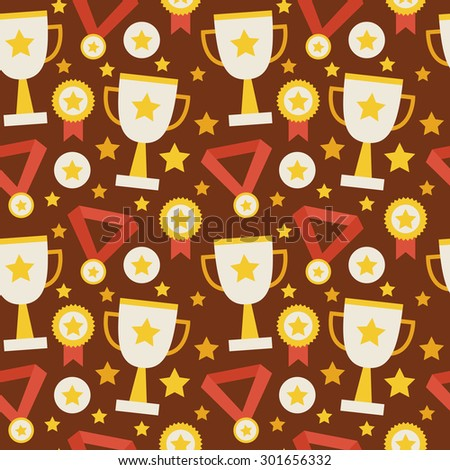 Flat Vector Seamless Pattern Sport Competition Trophy Winning with Medal. Flat Style Texture Background. Sports and Recreation. First Place. Award with Star. Cup with Gold Star - stock vector