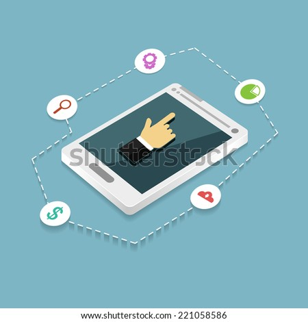 Flat vector smartphone with hand pointer and different icons
