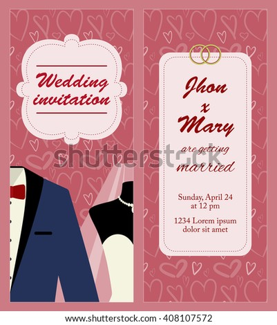 Flat vector template for wedding invitation with just married couple: groom and bride. Background with tuxedo and wedding dress for marriage invitation card. Invitation to wedding party or ceremony. - stock vector