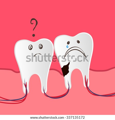 Flat Vector Tooth Dental Care Illustration with Hurt and Damaged Tooth, One Healthy Tooth, Gums for Dental Care Illustration, Dental Care Digital Web Design, Dental Care Icon, Medical Vector Template - stock vector