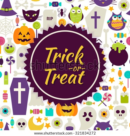 Flat Vector Trick or Treat Halloween Background. Flat Style Vector Illustration for Halloween Party Promotion Template. Colorful Scary Objects for Advertising - stock vector