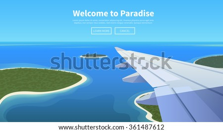 Flat vector web banner on the theme of travel by airplane, vacation, adventure. Airplane is landing in a tropical Paradise. Transport, transportation, travel. Modern flat design. - stock vector