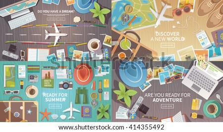 Flat vector web banners set on the theme of travel , vacation, adventure. Preparing for your journey. Outfit of modern traveler. Objects on wooden background. Top view. Ready for Summer. #2 - stock vector