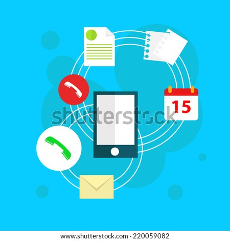 Flat vector workplace illustration with phone, business icons and elements on blue background - stock vector