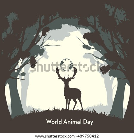 Flat, vector. World Animal Day. Figure wild deer in the trees.