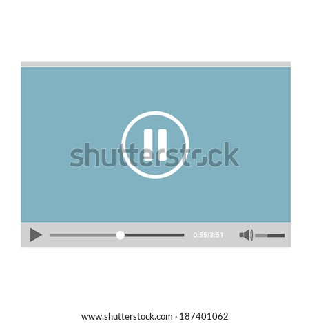 Flat video player for web - stock vector