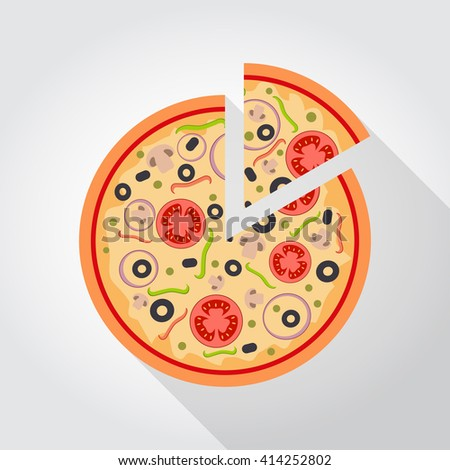 Flat vigetarian slice of pizza with tomato and mushrooms. - stock vector