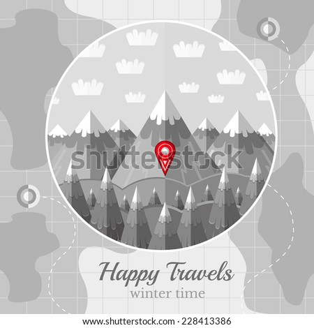 Flat background vector map circle frame stock vector 255465634 flat vintage black and white background vector map with circle frame with mountains forest and sky sciox Gallery